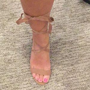 Ankle wrap sandals.